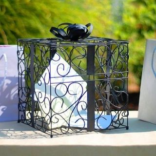 Wedding Reception Black Metal Gift Card & Money Box Holder NEW