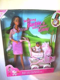 1999 AA WALKING BARBIE AND KRISSY DOLL BABY STROLLER PLAYSET NEW NRFB