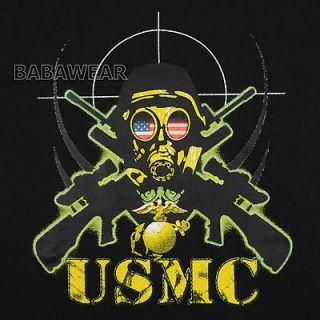 USMC T Shirt American Flag Marine Corps Sniper Gas Mask Target BABA