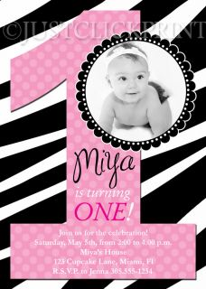 Birthday Girls Zebra Print Birthday Invitation   Printable UPRINT