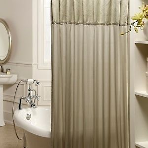 Strasbourg Fabric Shower Curtain and Ring Set   Sage Green NIP NEW