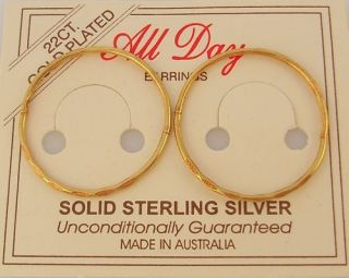 23mm FACET STERLING SILVER GOLD PLATED SLEEPER EARRINGS