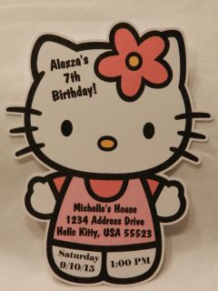 PERSONALIZED HELLO KITTY BIRTHDAY BABY SHOWER PARTY FAVOR INVITATIONS