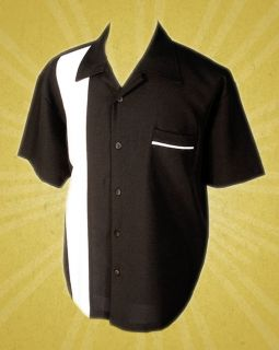 Rock Steady Black & White Bowling Lounge Shirt Rockabilly Retro Punk