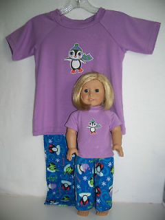 pajamas for her & her American Girl or Bitty Baby Doll (size 4