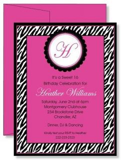 12 Custom Personalized Zebra Print Pink Birthday Party Invitations