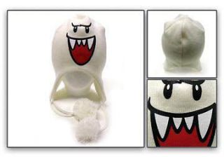 Official Nintendo Super Mario Bros Boo Ghost WHITE Ski Beanie Cap Hat