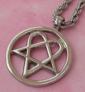 BAM HEARTAGRAM STAINLESS STEEL PENDANT CELTIC ROPE CHAIN NECKLACE