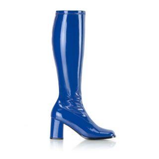 NAVY BLUE PATENT BLOCK HEEL RETRO 70S GO GO KNEE HIGH BOOTS UK 2 13