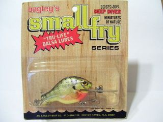 Vintage Bagley Lure 3DSF2 BR9 Brass Hardware Small Fry Fishing Tackle