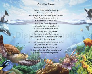 Personalized Poem For Niece Birthday Or Christmas Gift Under The Sea