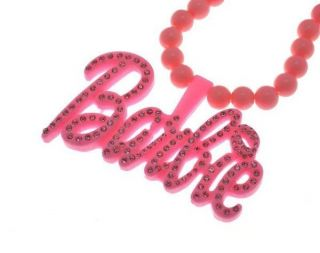 NEW NICKI MINAJ STYLE PINK BARBIE STONE PENDANT & 18 CHAIN NECKLACE