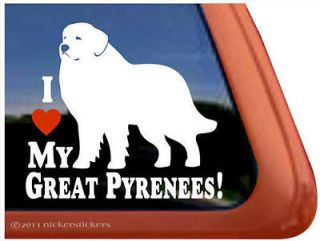 LOVE MY GREAT PYRENEES High Quality Dog Window Decal Sticker
