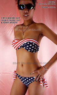 AMERICAN FLAG BANDEAU BIKINI TWISTED TUBE USA Stars & THIN Stripes sz
