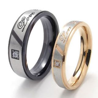 Stainless Steel Couple Wedding Bands Womens Mens Promise Ring DU21376