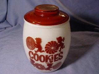 Vintage Bartlett Collins Kid Theme Brown & White Glass Cookie Jar