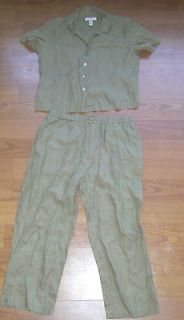 WOMENS JAMAICA BAY LINEN SUMMER PANT SUIT SZ L EUC!!