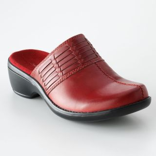 Croft & Barrow Womens DESTINY Red Leather Clogs Mules 6 9.5 10 NEW