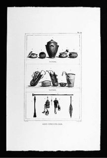 Print   Indian Artifacts Pottery Baskets Blow Gun Darts War Clubs