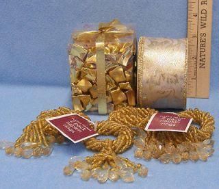 Gold Bead Napkin Rings Holiday Ribbon Christmas Display Decoration Lot