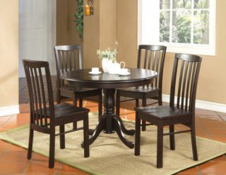 5PC ROUND DINETTE KITCHEN DINING TABLE WITH 4 PLAIN WOOD SEAT CHAIRS
