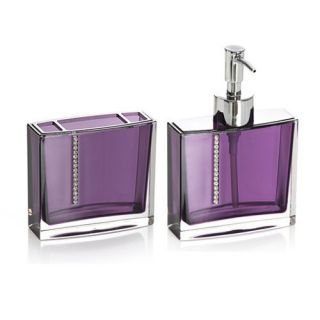 2P Purple Luxury Crystal Bathroom Accessory Set Soap Dispenser