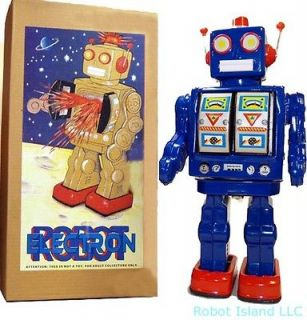 Battery Operated Robot Tin Toy BLUE ME100   Christmas Special