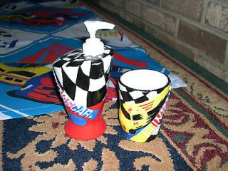 NASCAR Shower CURTAIN +Bathroom accessories SOAP/Lotion PUMP & CUP