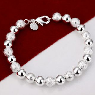 Silver Layered 8MM Solid Dull Polished Ball Charm Chain Bracelet