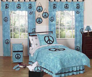 BLUE TIE DYE PEACE SIGN GIRL KID TEEN FULL QUEEN SIZE BEDDING SET