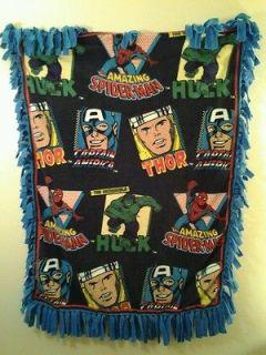 Hulk, Spiderman, Thor, Captain America Fleece Throw Blanket Handmade