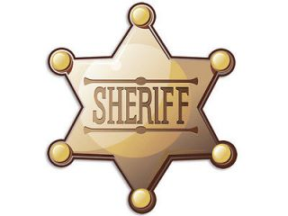 4x4 in Sheriff Badge Shaped Sticker  decal fun funny police kids cute