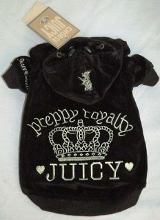 Juicy Couture Black Velour Dog Clothes Hoodie
