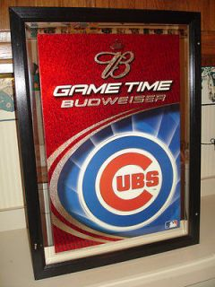 Chicago Cubs Budweiser Beer Mirror Pub Bar Sign Wood Framed Game Time
