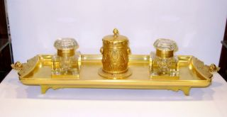 Art Nouveau Signed F. Barbedienne Solid Bronze Inkwell
