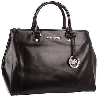 MICHAEL KORS Black Bedford Large Dressy Tote with Silver Hardware