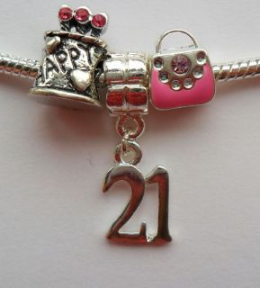 Number Bead Charm Set Cake Pink Enamel Bag Gift Idea Fits Bracelet