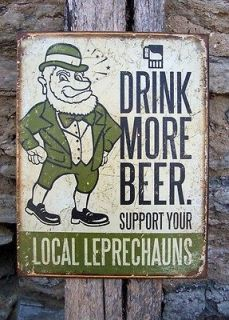 Antique Style Drink More Drinking Beer Sign Metal Retro Irish Bar Wall