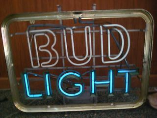 Vintage Budweiser Light Neon Beer Sign For Repair