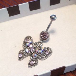 Sparkly Butterfly Belly Button Ring