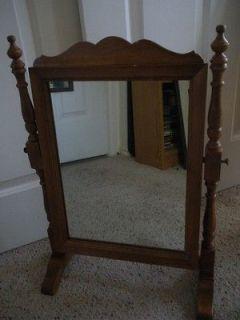 Vintage TELL CITY Maple Swivel Shaving   Dresser Top Cheval Mirror