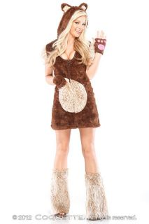 Womens Teddy Bear Costume Fancy Dress Hooded Fur Cute Animal Adult