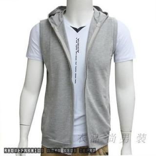 Korean thin section mens sleeveless waistcoat hooded cardigan vest