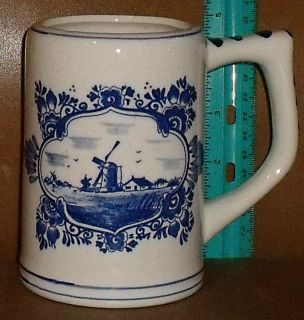 Holland Delft Delfts Blue Windmill 4.75 Hand Painted Stein Mug FREE