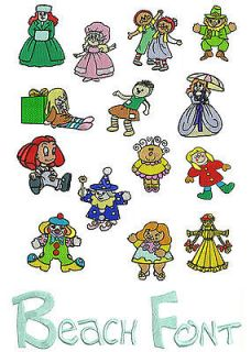Pretty Dolls Machine Embroidery Designs Font Brother Janome Formats CD