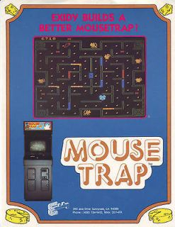 MOUSE TRAP ORIGINAL VIDEO ARCADE GAME ADVERTISING FLYER BROCHURE 1981