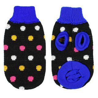 Winter Polka Dot Knit Shih Tzu Dog Sweater Pet Coat Apparel Black XS S