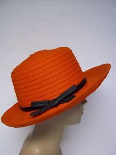 Ladies PUMPKIN ORANGE WIDE BRIM HAT Black Band & Bow MADE IN USA UNION