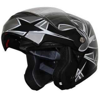 DOT Modular Flip Up Sports Motorcycle Helmets Star 235 Black