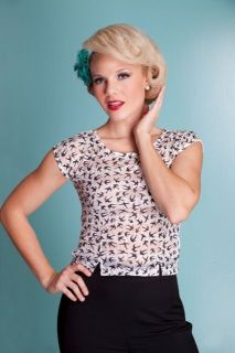Bettie Page Clothing Sparrow Top in White